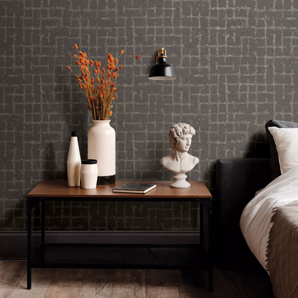 Shea Distressed Geometric Wallpaper in Charcoal from the Scott Living Collection by Brewster Home Fashions