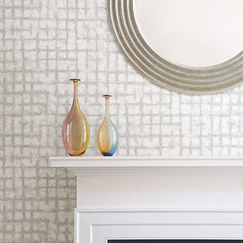 Shea Distressed Geometric Wallpaper in Light Grey from the Scott Living Collection by Brewster Home Fashions