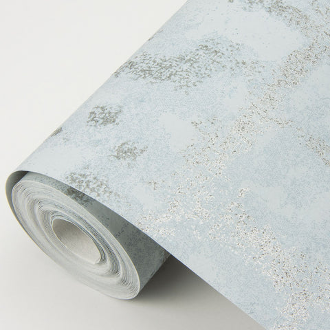 Shea Distressed Geometric Wallpaper in Sky Blue from the Scott Living Collection by Brewster Home Fashions