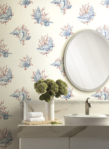 Shell Toile Wallpaper in Blue and Orange by Ashford House for York Wallcoverings