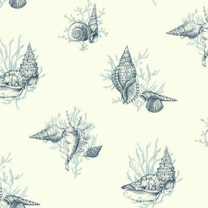 Shell Toile Wallpaper in Blue by Ashford House for York Wallcoverings