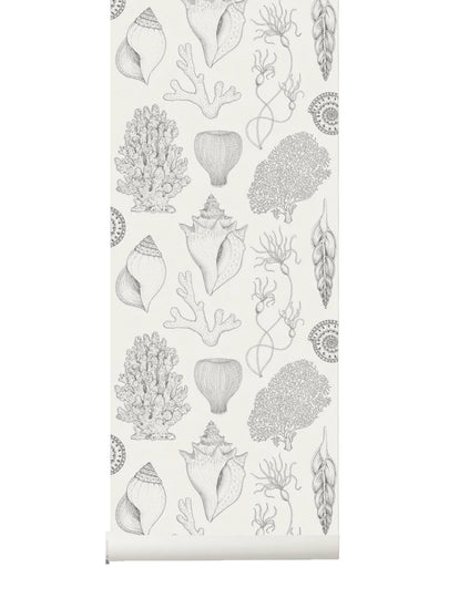 Shells Wallpaper in Off-White by Katie Scott for Ferm Living