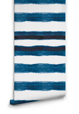 Shibori Stripe Wallpaper in Aleutian from the Shibori Collection by Milton & King