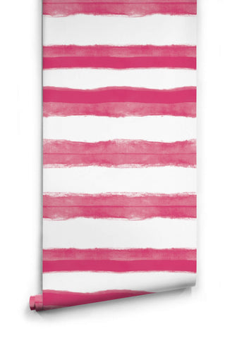 Shibori Stripe Wallpaper in Lipstick from the Shibori Collection by Milton & King