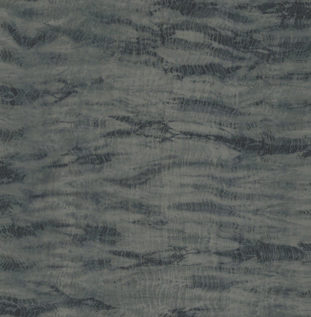 Sample Shibori Wallpaper in Black and Navy from the Solaris Collection by Mayflower Wallpaper