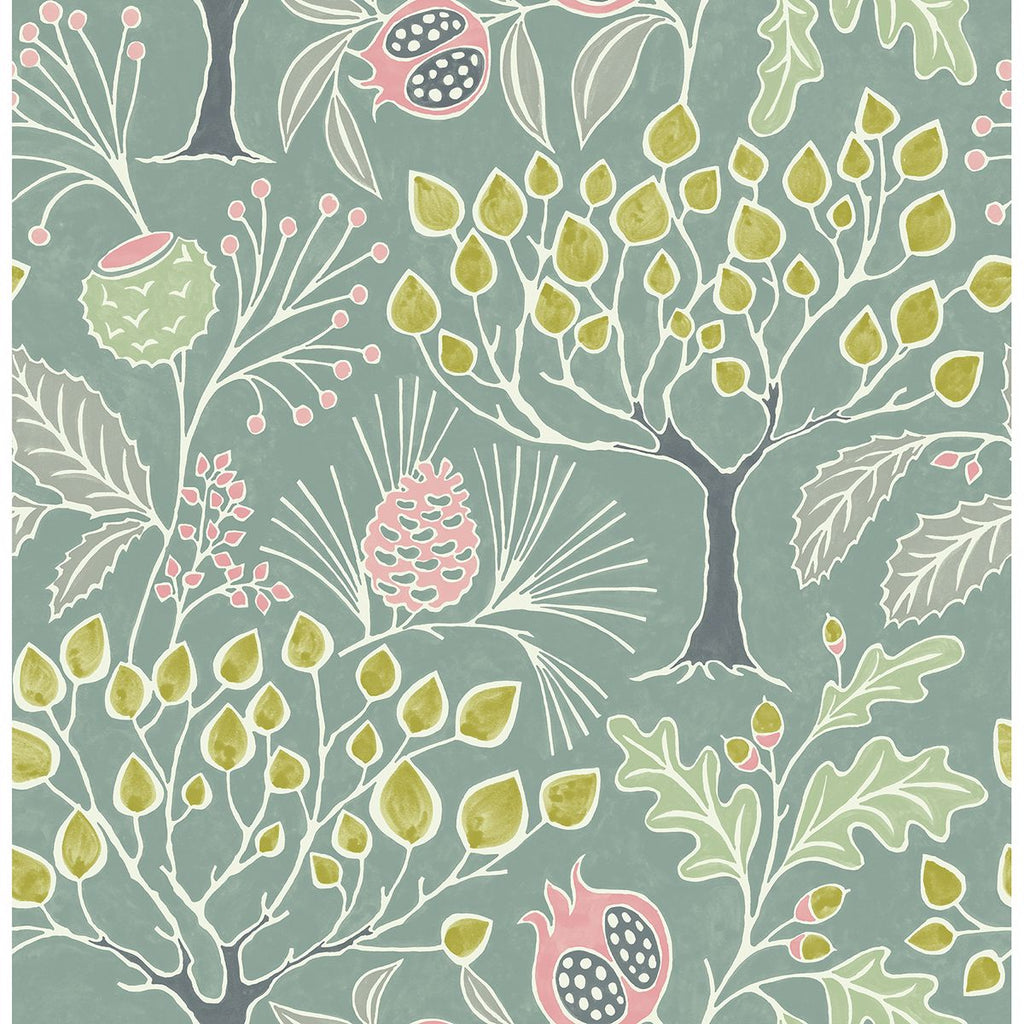 Shiloh Botanical Wallpaper in Green from the Bluebell Collection by Brewster Home Fashions