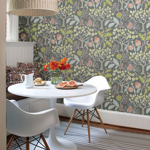 Shiloh Botanical Wallpaper in Grey from the Bluebell Collection by Brewster Home Fashions