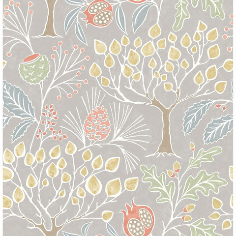 Shiloh Botanical Wallpaper in Light Grey from the Bluebell Collection by Brewster Home Fashions