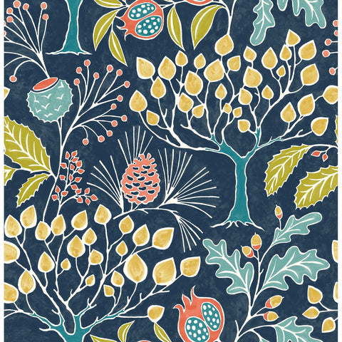 Shiloh Botanical Wallpaper in Navy from the Bluebell Collection by Brewster Home Fashions