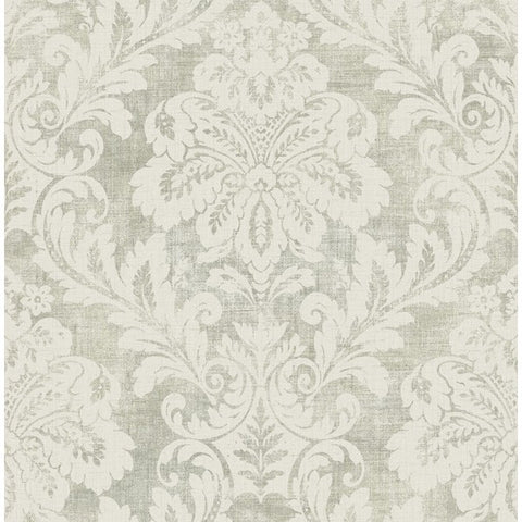Shimmer Damask Wallpaper in Grey by Seabrook Wallcoverings
