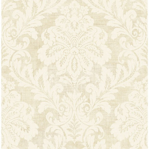 Shimmer Damask Wallpaper in Ivory and Grey by Seabrook Wallcoverings