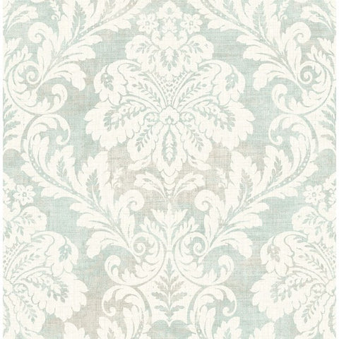 Shimmer Damask Wallpaper in Soft Blue and Ivory by Seabrook Wallcoverings