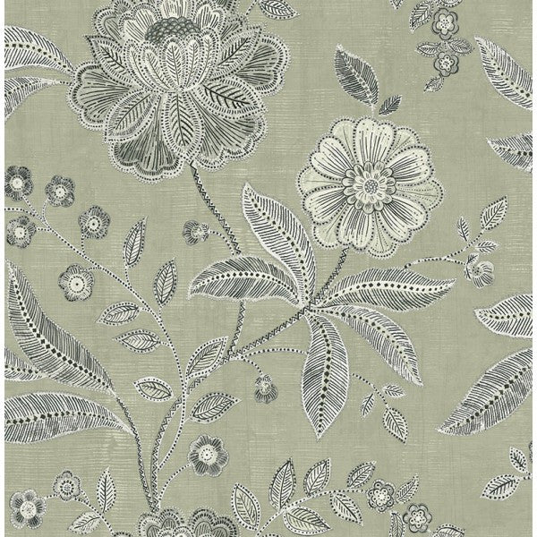 Shimmer Floral Wallpaper in Grey and Black by Seabrook Wallcoverings