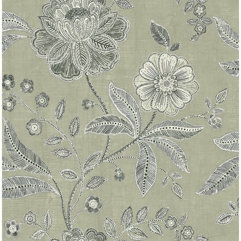 Sample Shimmer Floral Wallpaper in Grey and Black by Seabrook Wallcoverings