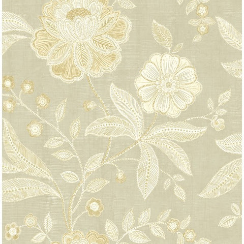 Shimmer Floral Wallpaper in Grey and Gold by Seabrook Wallcoverings
