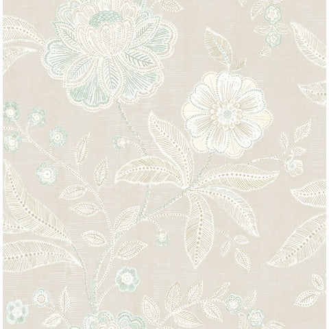 Shimmer Floral Wallpaper in Grey and Soft Blue by Seabrook Wallcoverings