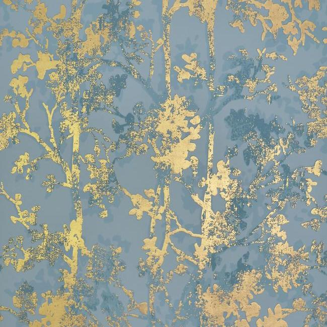 Sample Shimmering Foliage Wallpaper in Blue and Gold by Antonina Vella for York Wallcoverings
