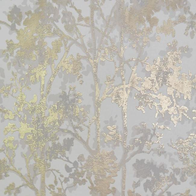 Shimmering Foliage Wallpaper in White and Gold by Antonina Vella for York Wallcoverings