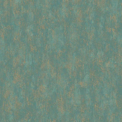 Shimmering Patina Wallpaper in Gold and Deep Turquoise by Antonina Vella for York Wallcoverings