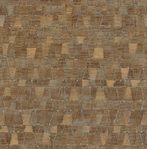 Shingle Wallpaper in Bronze, Gold, and Green from the Aerial Collection by Mayflower Wallpaper