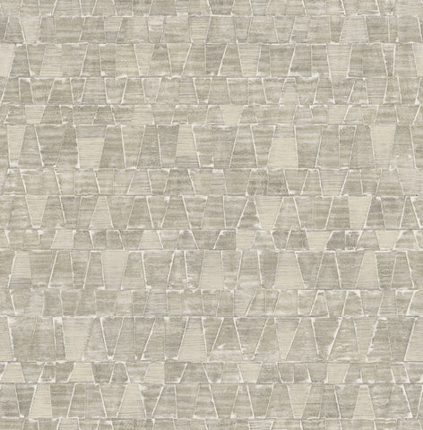 Shingle Wallpaper in Cream, Grey, and Gunmetal from the Aerial Collection by Mayflower Wallpaper