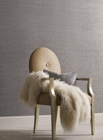 Shining Sisal Faux Grasscloth Wallpaper in Dark Metallic Charcoal by York Wallcoverings