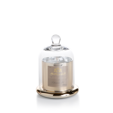 Siberian Fir Small Scented Candle in Gold Glass Jar with Bell Cloche