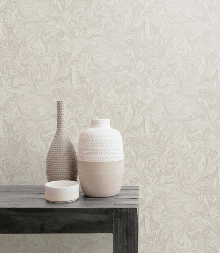 Sierra Marble Wallpaper in Daydream Grey and Pearl from the Boho Rhapsody Collection by Seabrook Wallcoverings