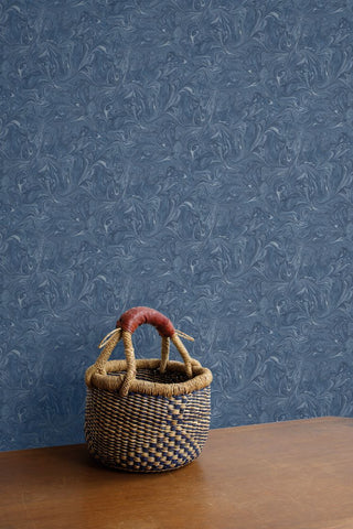 Sierra Marble Wallpaper in Washed Denim from the Boho Rhapsody Collection by Seabrook Wallcoverings