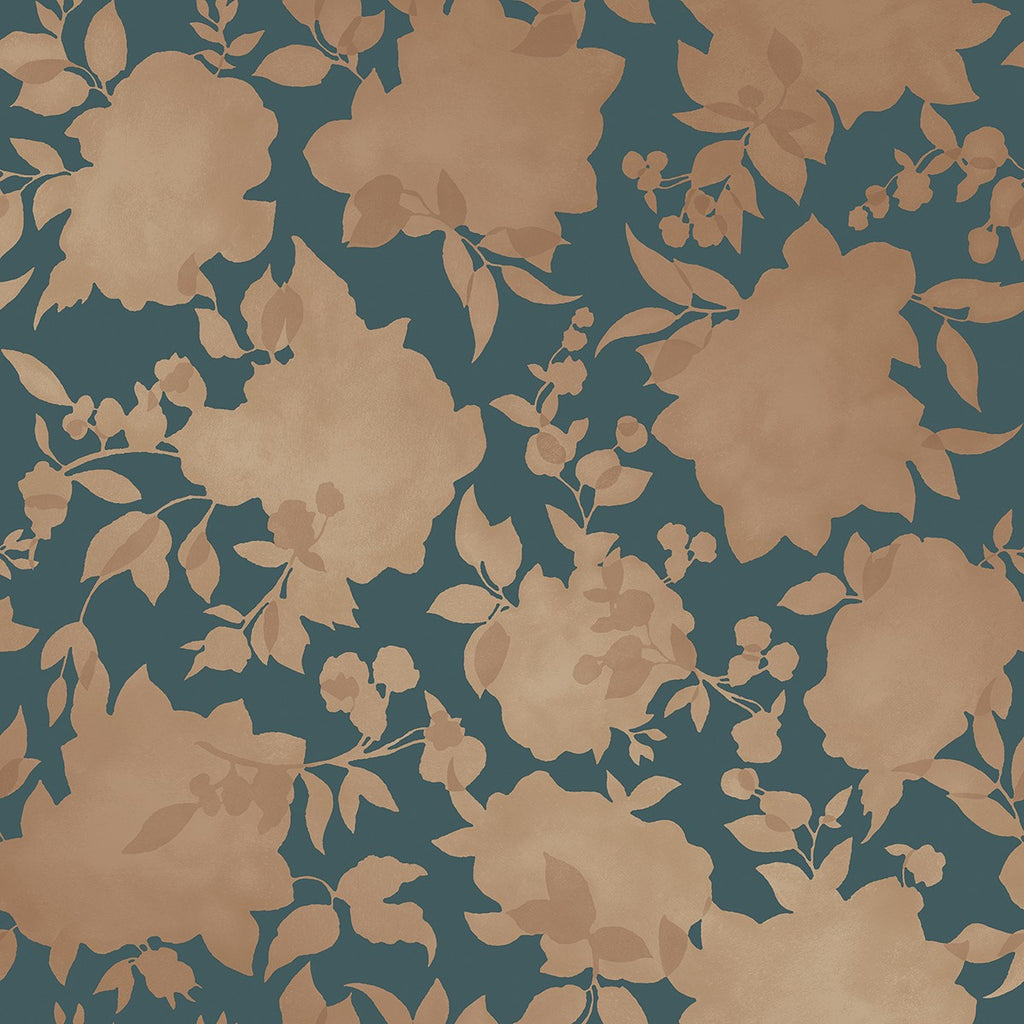 Sample Silhouette Self Adhesive Wallpaper in Peacock Blue & Gold design by Tempaper