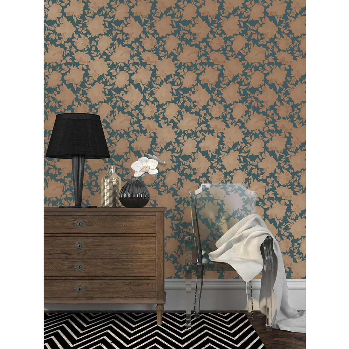 Silhouette Self Adhesive Wallpaper In Peacock Blue Gold Design By Te Burke Decor