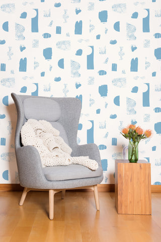 Silhouettes Wallpaper in Celeste and Cream by Juju