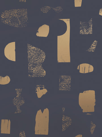 Silhouettes Wallpaper in Gold and Charcoal by Juju