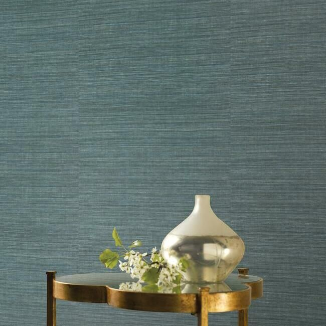 Silk Elegance Vinyl Wallpaper in Denim from the Ronald Redding 24 Karat Collection by York Wallcoverings