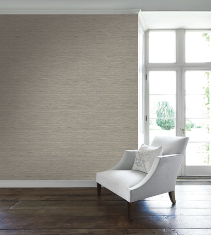 Silk Texture Wallpaper in Warm Silver from the Caspia Collection by Wallquest