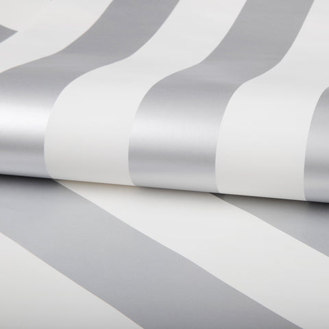 Sample Silver Stripe Wallpaper from the Kids Collection by Graham & Brown