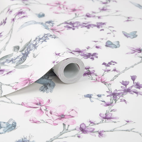 Simplicity Wallpaper in Pearl and Lilac from the Simplicity Collection by Graham & Brown