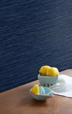 Sisal Hemp Wallpaper in Sapphire from the More Textures Collection by Seabrook Wallcoverings