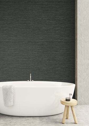 Sisal Hemp Wallpaper in Stone Grey from the More Textures Collection by Seabrook Wallcoverings