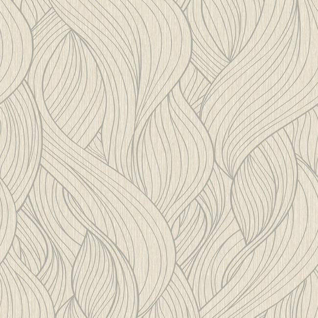 Skein Wallpaper in Dark Metallic and Soft Neutrals by Antonina Vella for York Wallcoverings
