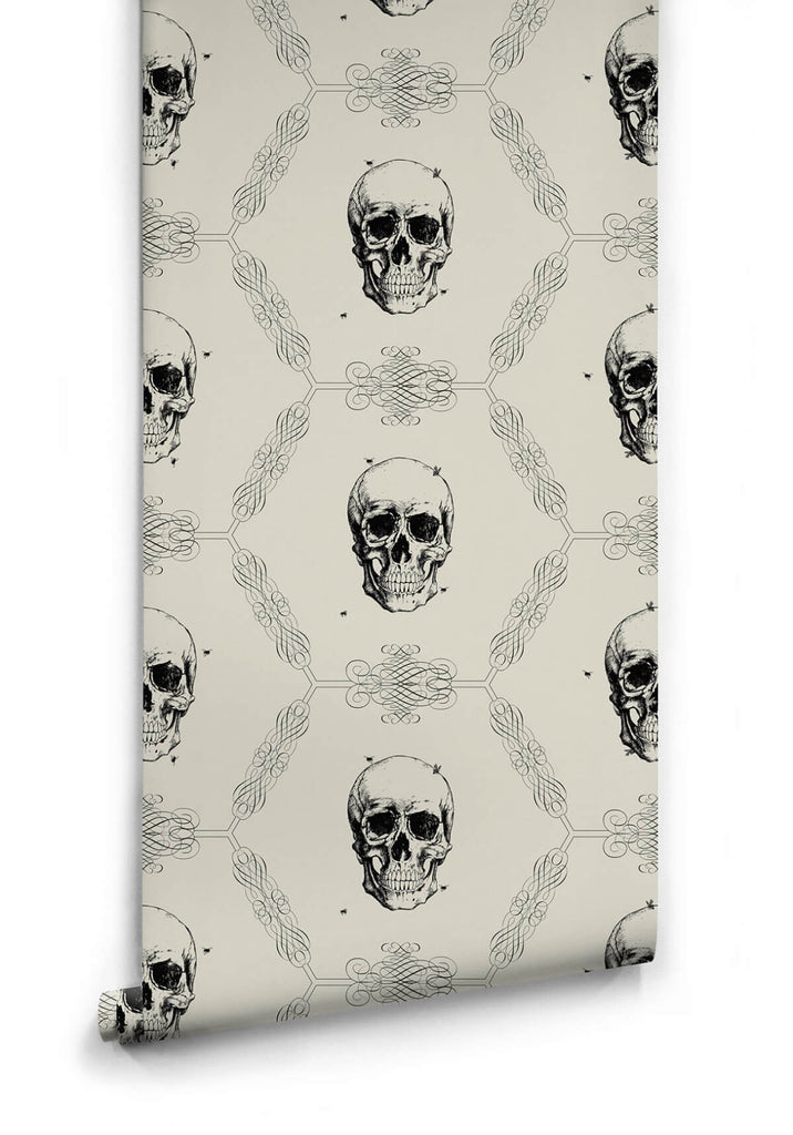 Skull & Bee Wallpaper in Bone from the Kingdom Home Collection by Milton & King