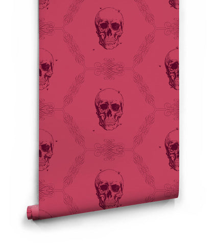 Skull & Bee Wallpaper in Crimson from the Kingdom Home Collection by Milton & King