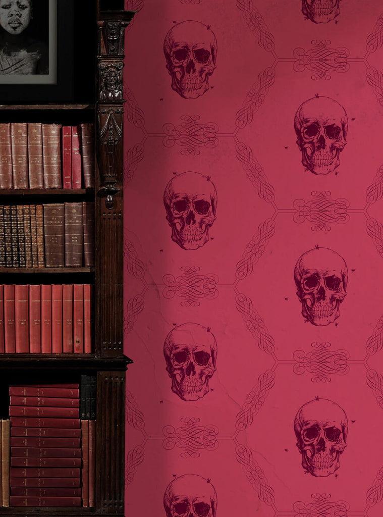 Skull bee wallpaper in crimson from the kingdom home for Home wallpaper collection