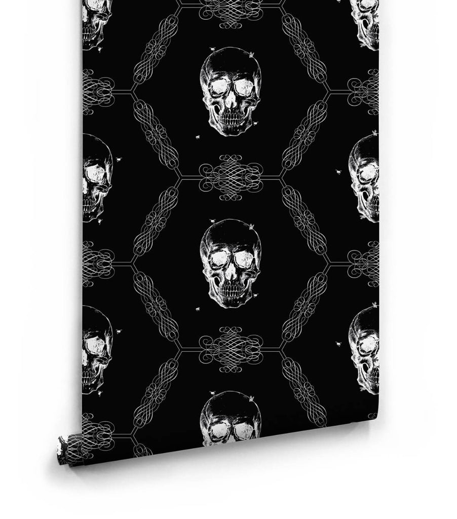 Skull bee wallpaper in night from the kingdom home for Home wallpaper collection