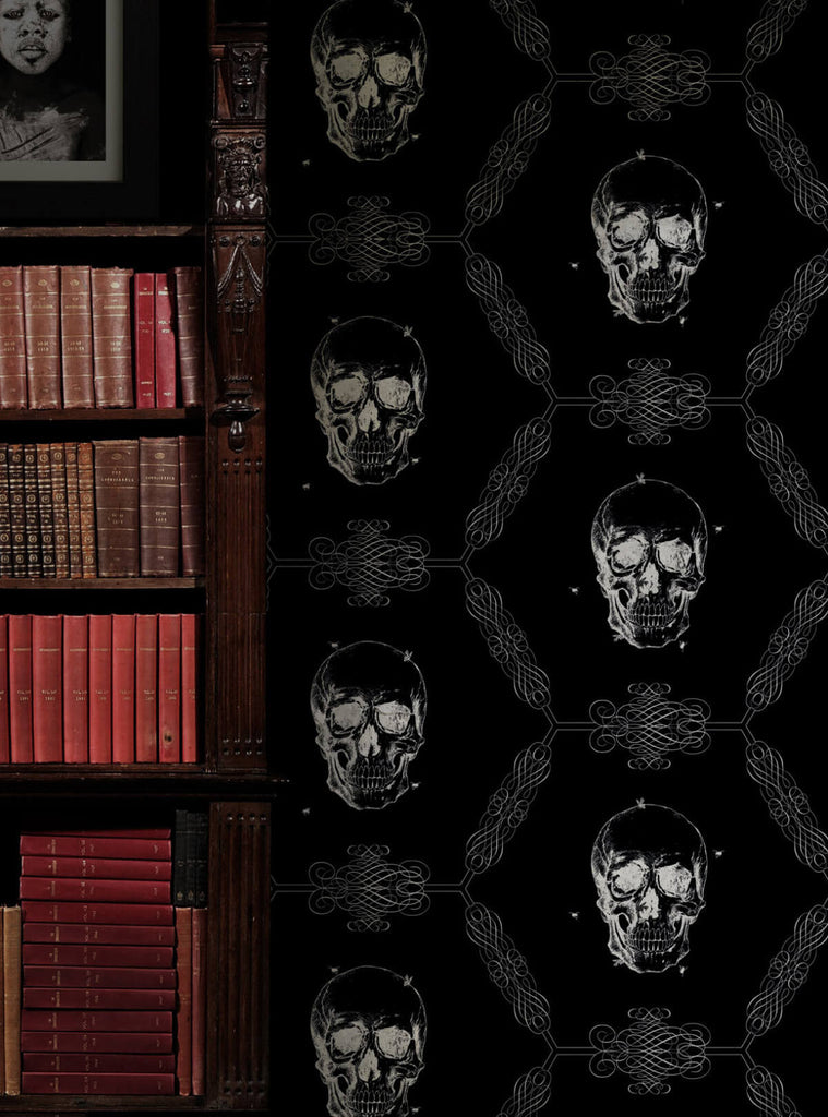 Skull & Bee Wallpaper in Night from the Kingdom Home Collection by Milton & King