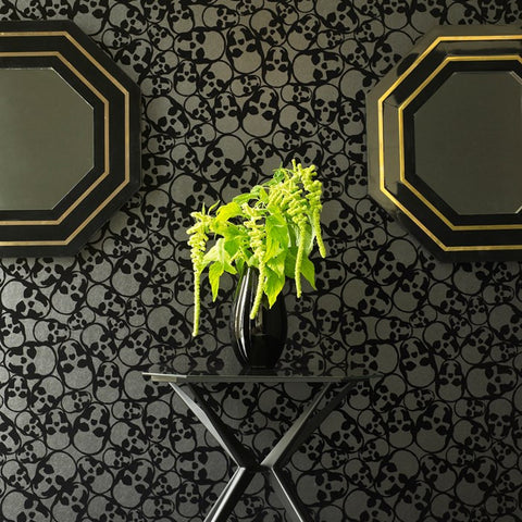 Skulls Flocked Wallpaper in Black by Barbara Hulanicki for Graham & Brown