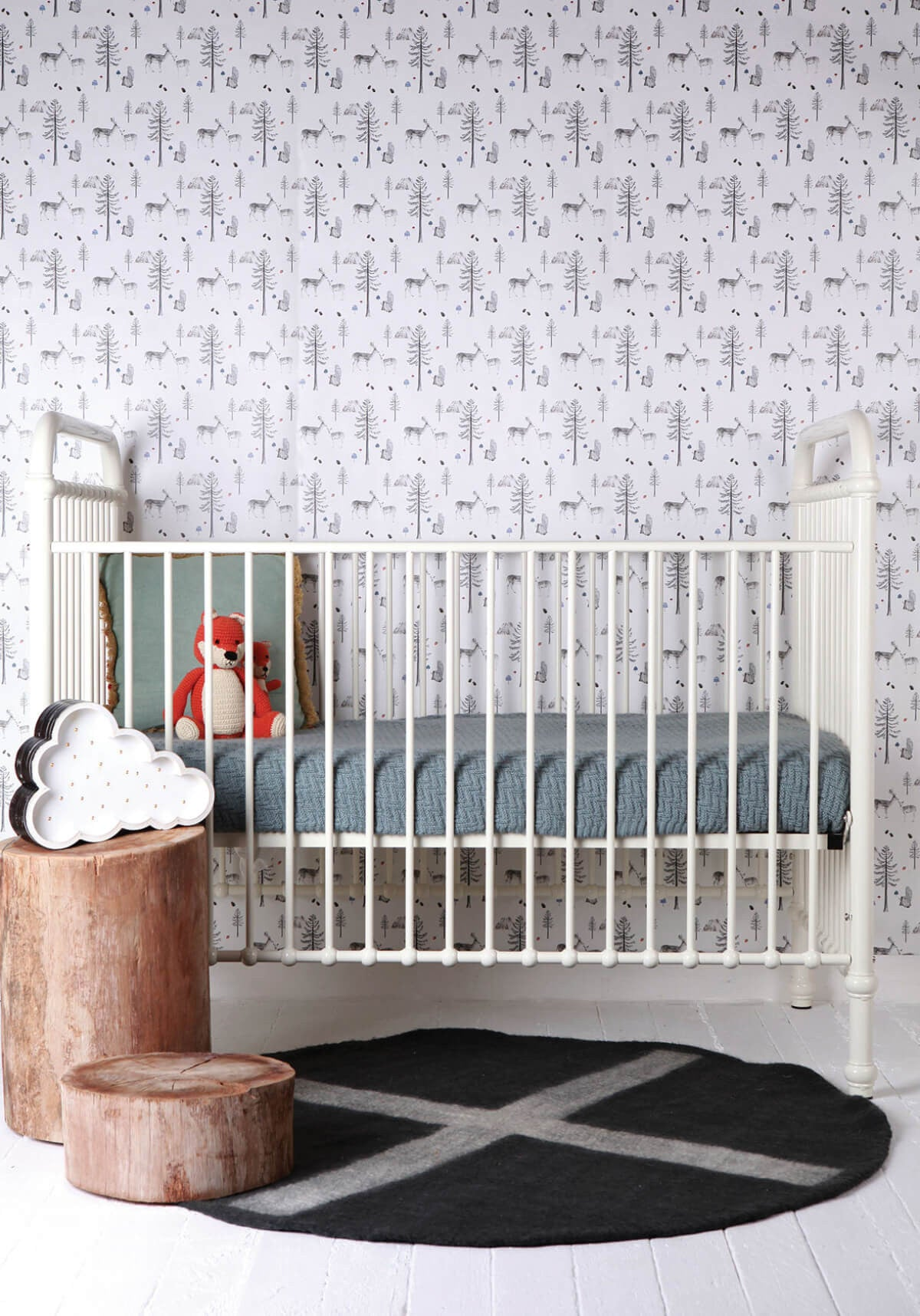 . Sleeping in the Woods Wallpaper from the Love Mae Collection by