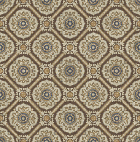 Small Floral Tile Wallpaper in Brown from the Caspia Collection by Wallquest