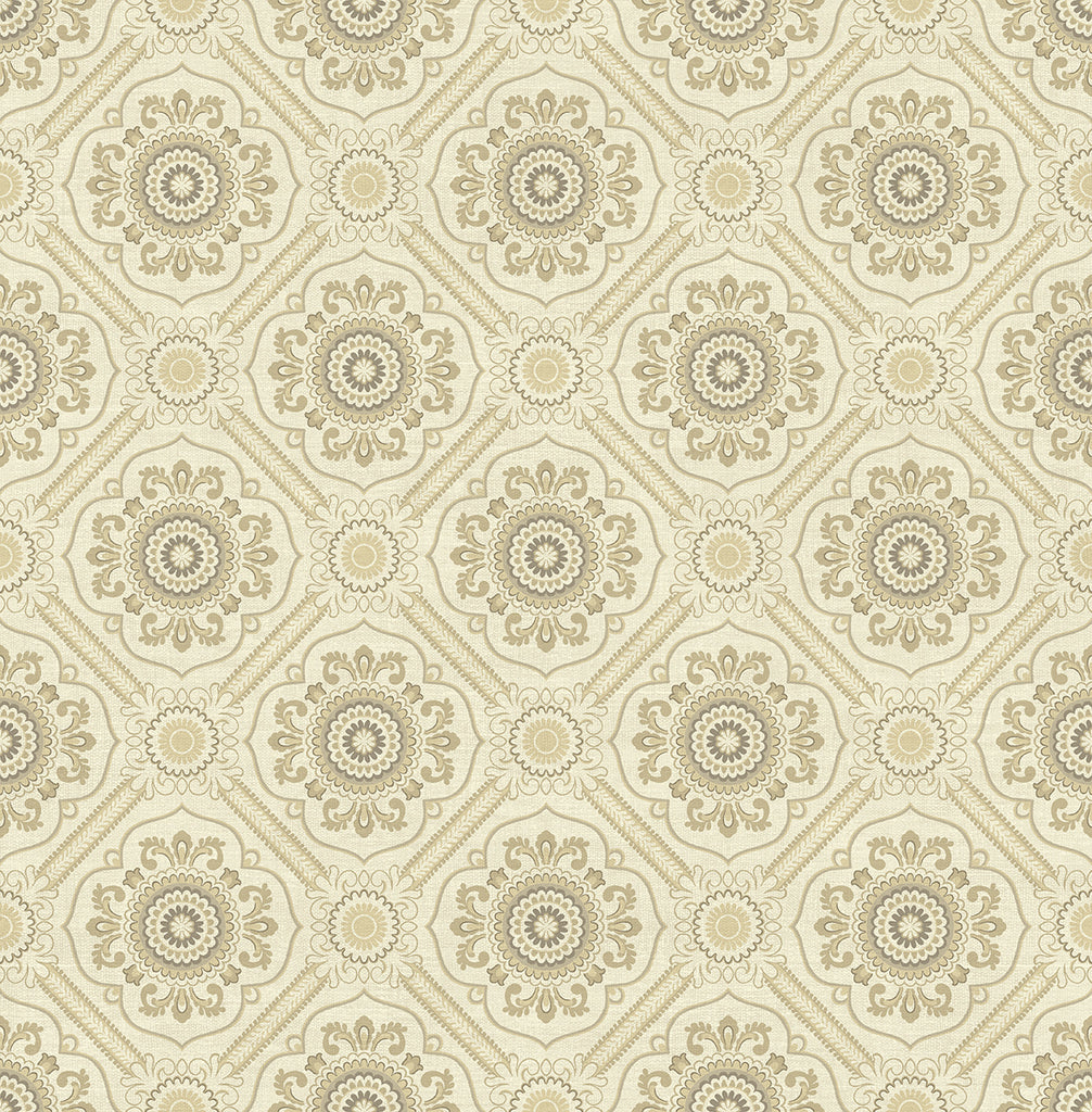 Sample Small Floral Tile Wallpaper in Gold from the Caspia Collection by Wallquest