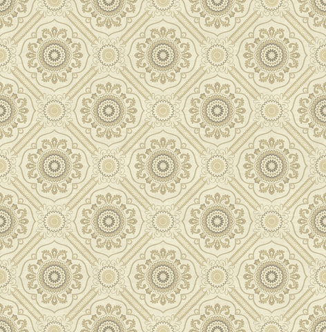 Small Floral Tile Wallpaper in Gold from the Caspia Collection by Wallquest